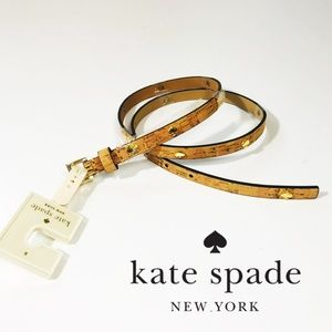Kate Spade Skinny Cork Belt, Leather Gold Preppy S